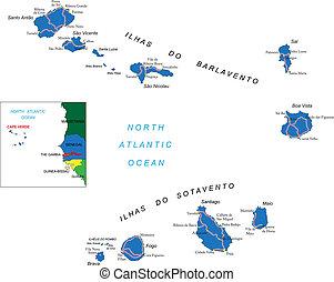 carte, îles, cap vert