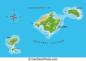 carte, îles, physique, baléare