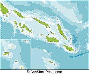 carte, îles, solomon