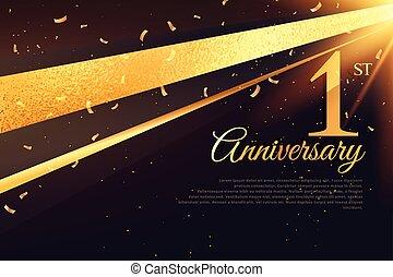 carte, 1er, anniversaire, gabarit, célébration