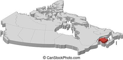 carte, -, 3d-illustration, canada, nouveau brunswick