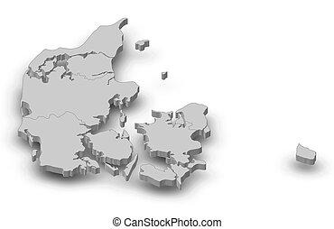 carte, 3d-illustration, -, danmark