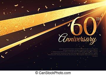 carte, 60th, anniversaire, gabarit, célébration