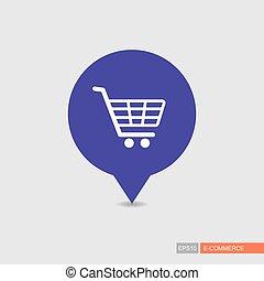 carte, achats, épingle, isolé, charrette, centre commercial,...