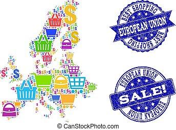 carte, achats, collage, cachets, union, mosaïque, textured, mieux, euro