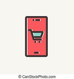 carte, achats, mince, charrette, emplacement, ligne, icône