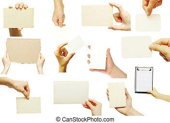 carte affaires, main