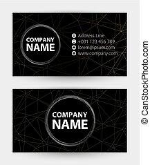 carte affaires, résumé, adresse, website., noir, téléphone, courrier, carte, icône