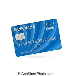 carte affaires, white., mondiale, gabarit, gaufré, concept., isolé, vecteur, autour de, réaliste, argent, crédit, argent, plastique, bleu, détaillé, paiements, symbols., theme.
