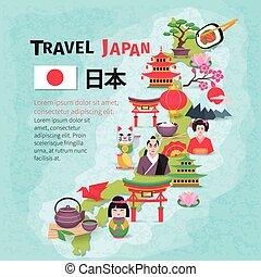 carte, affiche, voyage, culture japonaise, fond