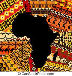 carte, afrique, fond, ethnique