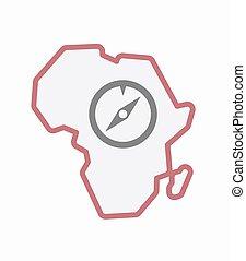 carte, afrique, isolé, compas