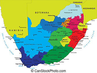 carte, afrique, sud, politique