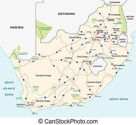 carte, afrique, sud, route