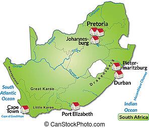 carte, afrique, sud
