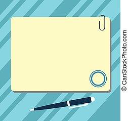 carte, aimant, stylo bille, carrée, disposition, agrafe, ...
