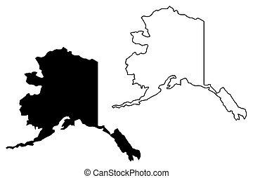 carte alaska, vecteur
