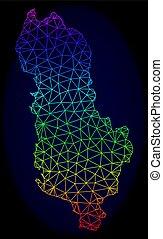 carte, albanie, réseau, spectre, maille, polygonal, vecteur
