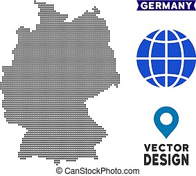 carte, allemagne, pixelated