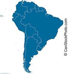 carte, amérique, contour, sud