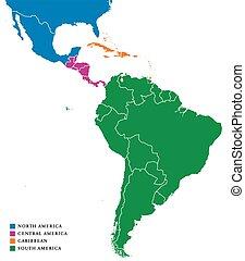 carte, amérique latine, subregions