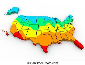 carte, amérique, moyenne, etats, uni, températures, plus ...