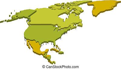 carte, amérique, nord, 3d