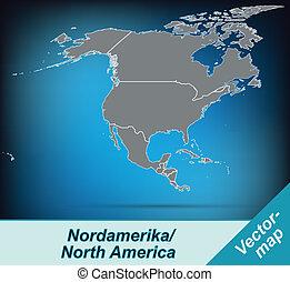 carte, amérique, nord