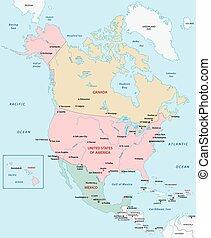 carte, amérique nord