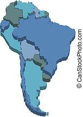 carte, amérique, sud, 3d