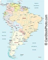 carte, amérique, sud