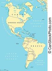 carte, amérique, sud nord, politique