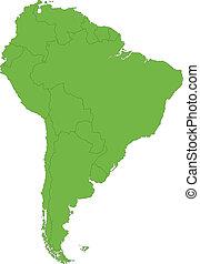 carte, amérique, vert, sud