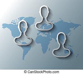 carte, amis, groupe, illustration, mondiale