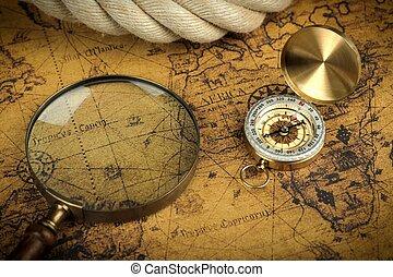 carte, ancien, mensonges, vendange, -, verre, histoires, aventure, fond, compas, mondiale, magnifier
