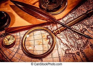 carte, ancien, mensonges, vendange, verre, mondiale, magnifier