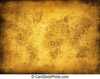 carte, ancien, mondiale