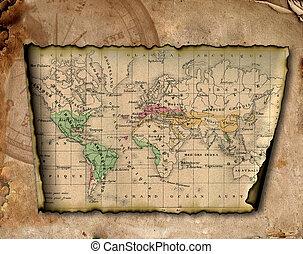 carte, ancien, world.