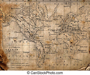 carte, ancien, world.