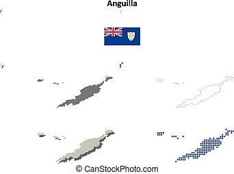 carte, anguilla, ensemble, contour