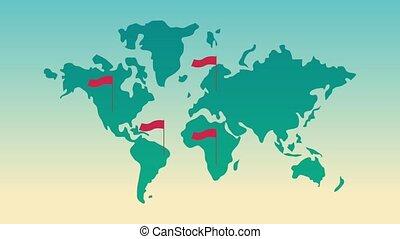 carte, animation, drapeaux, rouges, mondiale, hd