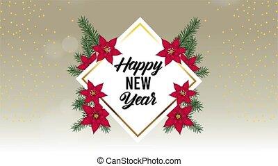 carte, année, heureux, lettrage, cadre, nouveau, floral