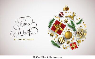 carte, année, noël, francais, noël, nouveau, or, ornement