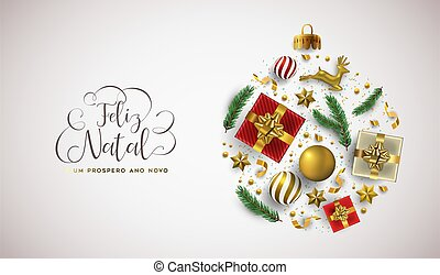carte, année, portugais, balle, noël, noël, nouveau, or