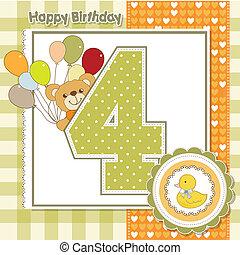 carte, anniversaire, anniversaire, quatrième