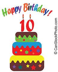 carte, anniversaire, dix, années