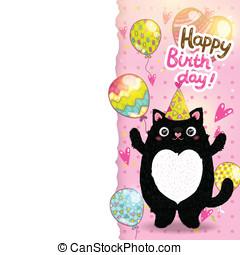 carte, anniversaire, fond, cat., heureux