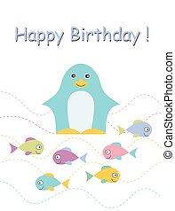 carte anniversaire, penguin., heureux