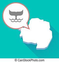 carte, antarctique, désirent ardemment queue, baleine, ombre