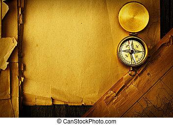 carte antique, sur, vieux, compas